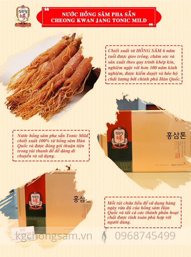 Ưu điểm vượt trội của nước hồng sâm pha sẵn Cheong Kwan Jang Tonic Mild Hàn Quốc